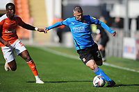 Swindon Town's Paul Caddis under pressure from Blackpool's Bez Lubala<br /> <br /> Photographer Kevin Barnes/CameraSport<br /> <br /> The EFL Sky Bet League One - Blackpool v Swindon Town - Saturday 19th September 2020 - Bloomfield Road - Blackpool<br /> <br /> World Copyright © 2020 CameraSport. All rights reserved. 43 Linden Ave. Countesthorpe. Leicester. England. LE8 5PG - Tel: +44 (0) 116 277 4147 - admin@camerasport.com - www.camerasport.com