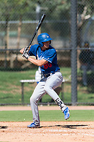 Los Angeles Dodgers infielder Devin Mann (80) at bat during an Instructional League game against the Oakland Athletics at Camelback Ranch on September 27, 2018 in Glendale, Arizona. (Zachary Lucy/Four Seam Images)