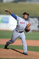 Scottsdale Scorpions pitcher Jeurys Familia (27), of the New York Mets organization, during an Arizona Fall League game against the Surprise Saguaros on October 17, 2013 at Surprise Stadium in Surprise, Arizona.  Surprise defeated Scottsdale 10-5.  (Mike Janes/Four Seam Images)