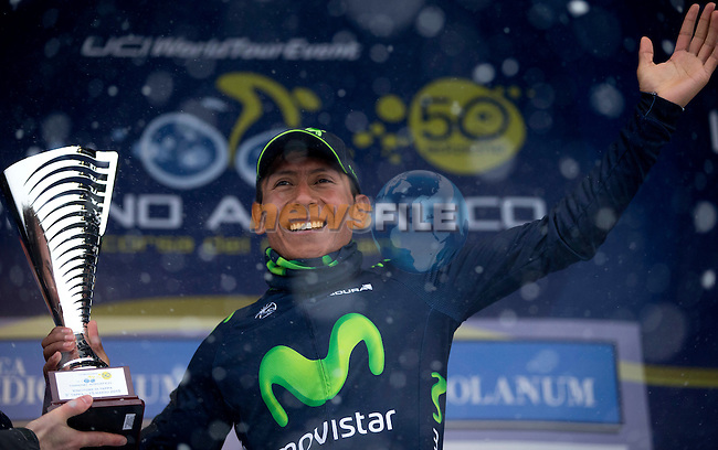 Nairo Quintana (COL) Movistar Team wins Stage 5 on a snowy summit of Terminillo after 197km and takes over the lead of the 2015 Tirreno-Adriatico cycle race, Italy. 15th March 2015. <br /> Photo: ANSA/Claudio Peri/www.newsfile.ie