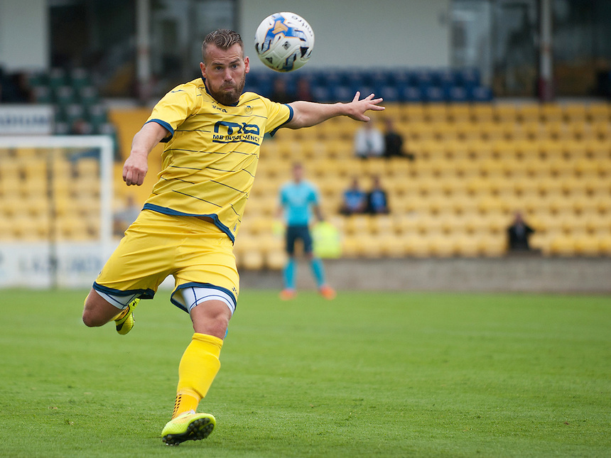 Torquay United's Louis Briscoe in action during todays match  <br /> <br /> Photographer Kevin Barnes/CameraSport<br /> <br /> Football - Pre Season Friendly - Torquay United v Newport County AFC - Saturday 18th July 2015 - Plainmoor - Torquay<br /> <br /> &copy; CameraSport - 43 Linden Ave. Countesthorpe. Leicester. England. LE8 5PG - Tel: +44 (0) 116 277 4147 - admin@camerasport.com - www.camerasport.com