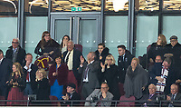 Karen Brady & the directors box as West Ham score a goal to equalise during the Premier League match between West Ham United and Stoke City at the Olympic Park, London, England on 16 April 2018. Photo by Andy Rowland.