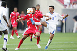 11 March 2008: Marvin Sanchez (HON) (16) gets a leg in against Gabriel Torres (PAN) (9). The Honduras U-23 Men's National Team defeated the Panama U-23 Men's National Team 1-0 at Raymond James Stadium in Tampa, FL in a Group A game during the 2008 CONCACAF's Men's Olympic Qualifying Tournament.