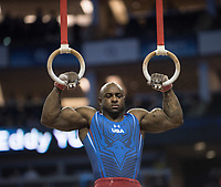Donnell Whittenburg (USA) in action during the men's Rings competition.  FIG World Cup Series of Gymnastics. The O2 Arena, London,  Britain 8th April 2017.