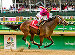 LOUISVILLE, KY - MAY 04: Salty #1, ridden by Tyler Gafflione, wins the La Troienne Stakes during an undercard race on Kentucky Oaks Day at Churchill Downs on May 4, 2018 in Louisville, Kentucky. (Photo by Sue Kawczynski/Eclipse Sportswire/Getty Images)