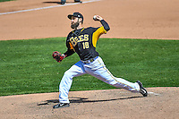Lucas Luetge (18) of the Salt Lake Bees delivers a pitch to the plate against the El Paso Chihuahuas in Pacific Coast League action at Smith's Ballpark on April 24, 2016 in Salt Lake City, Utah. This was Game 1 of a double-header.  El Paso defeated Salt Lake 7-0. (Stephen Smith/Four Seam Images)