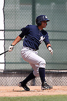 New York  Yankees Francisco Arcia #28 during a minor league spring training game against the Philadelphia Phillies at the Carpenter Complex on March 22, 2012 in Clearwater, Florida.  (Mike Janes/Four Seam Images)
