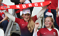 20190608 - REIMS , FRANCE : Norwegian fans  pictured during the female soccer game between Norway – the Grashoppene - and Nigeria – The Super Falcons - , the first game for both teams in group A during the FIFA Women's  World Championship in France 2019, Saturday 8 th June 2019 at the Auguste Delaune Stadium in Reims , France .  PHOTO SPORTPIX.BE | DIRK VUYLSTEKE
