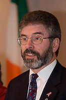 November 10,  2002, Montreal, Quebec, Canada; <br /> <br /> Sinn Fein-leader Gerry Adams adress the medias November 10, 2002 in  Montreal, CANADA.<br /> <br /> <br /> <br /> <br /> <br /> <br /> (Mandatory Credit: Photo by Sevy - Images Distribution (©) Copyright 2002 by Sevy<br /> <br /> NOTE :  D-1 H original JPEG, saved as Adobe 1998 RGB.<br />  Uncompressed and uncropped original  size file available on request.