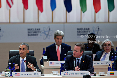 United States President Barack Obama, left, speaks during a closing session with David Cameron, U.K. prime minister, at the Nuclear Security Summit in Washington, D.C., U.S., on Friday, April 1, 2016. After a spate of terrorist attacks from Europe to Africa, Obama is rallying international support during the summit for an effort to keep Islamic State and similar groups from obtaining nuclear material and other weapons of mass destruction.  Seated behind them are US Secretary of State John Kerry and US Secretary of Energy Ernest Moniz.<br /> Credit: Andrew Harrer / Pool via CNP