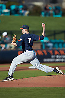 Illinois Fighting Illini starting pitcher Ty Weber (7) in action against the Coastal Carolina Chanticleers at Springs Brooks Stadium on February 22, 2020 in Conway, South Carolina. The Fighting Illini defeated the Chanticleers 5-2. (Brian Westerholt/Four Seam Images)