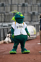 Mason, the mascot of the Columbia Fireflies in a game against the Augusta GreenJackets on Saturday, April 7, 2018, at Spirit Communications Park in Columbia, South Carolina. Augusta won, 6-2. (Tom Priddy/Four Seam Images)