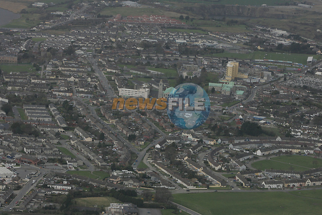 Aerial view of drogheda, showing the Termonfeckin road looking north west with Our Lady of Lourdes hospital in view. 12/04/05...Photo NEWSFILE/Fran Caffrey.(Photo credit should read Fran Caffrey/NEWSFILE)....This Picture has been sent you under the condtions enclosed by:.Newsfile Ltd..The Studio,.Millmount Abbey,.Drogheda,.Co Meath..Ireland..Tel: +353(0)41-9871240.Fax: +353(0)41-9871260.GSM: +353(0)86-2500958.email: pictures@newsfile.ie.www.newsfile.ie.FTP: 193.120.102.198...This picture is from Fran Caffrey@newsfile.ie