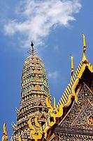 Upward view of Phra Mondop, Wat Phra Kaeo, Bangkok, Thailand.