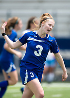 NWA Democrat-Gazette/CHARLIE KAIJO Rogers High School midfielder Skylurr Patrick (3) reacts after scoring a goal during the semifinals of the 7A Girls State Soccer Tournament, Saturday, May 12, 2018 at Whitey Smith Stadium at Rogers High School in Rogers. Rogers advanced to the finals when midfielder Skylurr Patrick (3) scored both of Rogers' goals defeating Southside High School, 2-1.