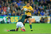 9th September 2017, nib Stadium, Perth, Australia; Supersport Rugby Championship, Australia versus South Africa; Israel Folau of the Australian Wallabies stands up in a tackle from Jesse Kriel of the South African Springboks