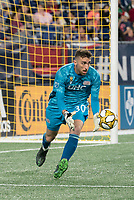 FOXBOROUGH, MA - SEPTEMBER 21: Matt Turner #30 of New England Revolution intercepts a shot at goal during a game between Real Salt Lake and New England Revolution at Gillette Stadium on September 21, 2019 in Foxborough, Massachusetts.
