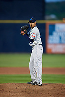 Lake County Captains starting pitcher Justin Garza (23) gets ready to deliver a pitch during a game against the Quad Cities River Bandits on May 6, 2017 at Modern Woodmen Park in Davenport, Iowa.  Lake County defeated Quad Cities 13-3.  (Mike Janes/Four Seam Images)