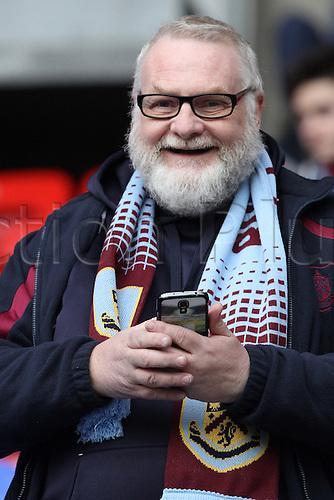 27.02.2016. Macron Stadium, Bolton, England. Skybet Championship. Bolton versus Burnley.<br /> Visiting burnley fan anticipates kick off