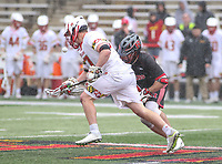 College Park, MD - April 15, 2018: Maryland Terrapins Austin Henningsen (17) wins the faceoff during game between Rutgers and Maryland at  Capital One Field at Maryland Stadium in College Park, MD.  (Photo by Elliott Brown/Media Images International)