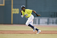 Shortstop Ronny Mauricio (2) of the Columbia Fireflies runs toward second in a game against the Charleston RiverDogs on Saturday, April 6, 2019, at Segra Park in Columbia, South Carolina. Columbia won, 3-2. (Tom Priddy/Four Seam Images)