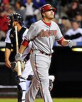 26 April 2010: Arizona Diamondbacks third baseman Mark Reynolds reacts after striking out during a regular season Major League Baseball game between the Colorado Rockies and the Arizona Diamondbacks at Coors Field in Denver, Colorado. The Diamondbacks beat the Rockies 5-3. *****For Editorial Use Only*****