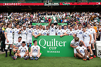 Josh Beaumont holds the Quilter Cup with the rest of the England XV team after the match. Quilter Cup International match between England XV and the Barbarians on June 2, 2019 at Twickenham Stadium in London, England. Photo by: Patrick Khachfe / Onside Images