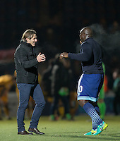 Wycombe Wanderers Manager Gareth Ainsworth celebrates victory with Adebayo Akinfenwa of Wycombe Wanderers after the Sky Bet League 2 match between Wycombe Wanderers and Newport County at Adams Park, High Wycombe, England on 2 January 2017. Photo by Andy Rowland.