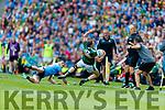 Diarmuid Connolly, Dublin in action against Jonathan Lyne, Kerry during the GAA Football All-Ireland Senior Championship Final match between Kerry and Dublin at Croke Park in Dublin on Sunday.