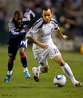 LA Galaxy forward Landon Donovan moves towards the goal. The LA Galaxy defeated the New England Revolution 1-0 at Home Depot Center stadium in Carson, California on Saturday evening March 27, 2010.  .