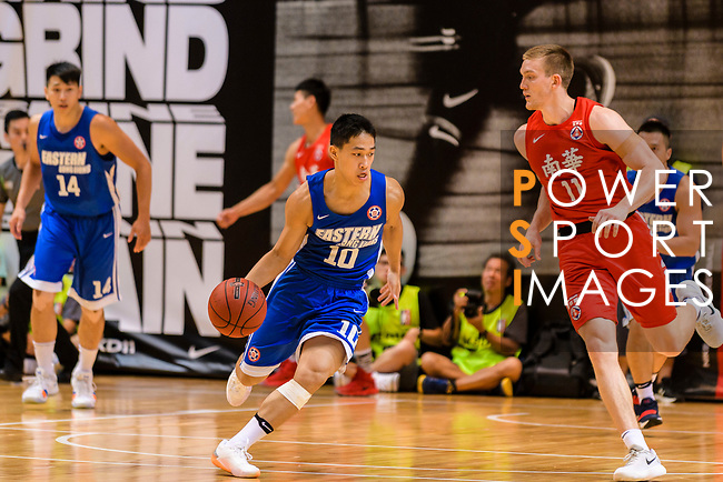 Gonzalez Lau #10 of Eagle Basketball Team handles the ball against the SCAA during the Hong Kong Basketball League playoff game between Eastern Long Lions and SCAA at Queen Elizabeth Stadium on July 24, 2018 in Hong Kong. Photo by Marcio Rodrigo Machado / Power Sport Images