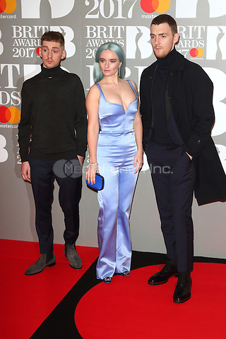 Clean Bandit at The BRIT Awards 2017 at The O2, Peninsula Square, London on February 22nd 2017<br /> CAP/ROS<br /> &copy; Steve Ross/Capital Pictures /MediaPunch ***NORTH AND SOUTH AMERICAS ONLY***