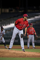 AZL Angels relief pitcher Cristia Reyes (33) looks in for the sign during an Arizona League game against the AZL Indians 2 at Tempe Diablo Stadium on June 30, 2018 in Tempe, Arizona. The AZL Indians 2 defeated the AZL Angels by a score of 13-8. (Zachary Lucy/Four Seam Images)