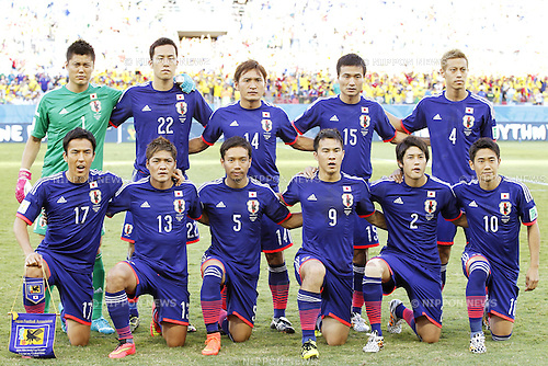 Japan team group line-up (JPN), JUNE 24, 2014 - Football / Soccer : FIFA World Cup Brazil 2014 Group C match between Japan 1-4 Colombia at the Arena Pantanal in Cuiaba, Brazil. (Photo by AFLO)