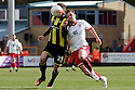 Chris Beardsley of Stevenage battles with Harlee Dean of Brentford. - Stevenage v Brentford - npower League 1 - Lamex Stadium, Stevenage - 21st April, 2012. © Kevin Coleman 2012