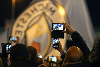 Fans welcome the arrival of the Manchester City team bus ahead of kick-off at The Etihad<br /> <br /> Photographer Rich Linley/CameraSport<br /> <br /> UEFA Champions League Round of 16 Second Leg - Manchester City v FC Schalke 04 - Tuesday 12th March 2019 - The Etihad - Manchester<br />  <br /> World Copyright © 2018 CameraSport. All rights reserved. 43 Linden Ave. Countesthorpe. Leicester. England. LE8 5PG - Tel: +44 (0) 116 277 4147 - admin@camerasport.com - www.camerasport.com