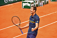 Guillermo Garcia Lopez celebrates after he beats Stan Wawrinka during Day 2 of the French Open 2018 on May 28, 2018 in Paris, France. (Photo by Dave Winter/Icon Sport)