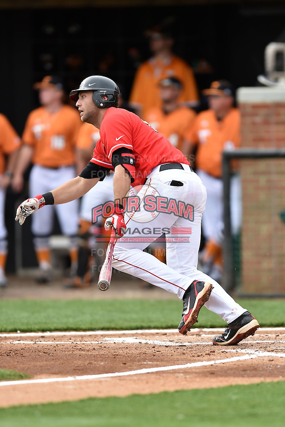 Georgia Bulldogs third baseman Trevor Kieboom (42) swings at a pitch during a game against the Tennessee Volunteers at Lindsey Nelson Stadium March 21, 2015 in Knoxville, Tennessee. The Bulldogs defeated the Volunteers 12-7. (Tony Farlow/Four Seam Images)