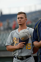 ***Temporary Unedited Reference File***Montgomery Biscuits Braxton Lee (15) during a game against the Chattanooga Lookouts on May 2, 2016 at AT&T Field in Chattanooga, Tennessee.  Chattanooga defeated Montgomery 9-6.  (Mike Janes/Four Seam Images)