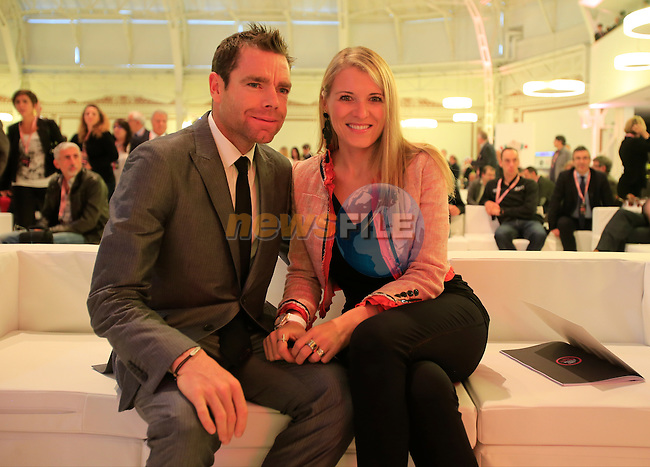 Cadel Evans (AUS) and Chiara Passerini  at the 2014 Giro d'Italia Presentation held in the Palazzo del Ghiaccio in Milan, Italy. 7th October 2013.<br /> (Photo: Eoin Clarke/www.newsfile.ie)