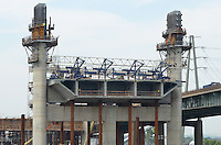 East Towers, Cast-in-place Deck Box Girder, New Pearl Harbor Memorial Bridge under Construction at New Haven Harbor Crossing, Connectictut. CONNDOT Contract B, Project #92-618. When complete the alternately named Quinnipiac River Bridge will be first Extradosed Engineered & Designed Bridge in the United States.