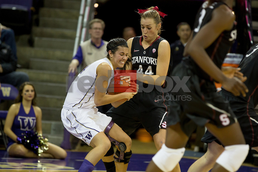 The University of Washington women's basketball team battles Stanford University at Alaska Airlines Arena on  February 28, 2012. (Photo by Scott Eklund /Red Box Pictures)