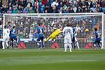 Getafe´s goalkeeper Guaita stops a kick during La Liga match at Santiago Bernabeu stadium in Madrid, Spain. December 05, 2015. (ALTERPHOTOS/Victor Blanco)