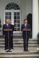 Washington DC., USA, June 20, 1991<br /> President George H.W. Bush with Russian President Boris  Nikoloyevich Yeltsin at remarks on the steps of the Rose Garden Credit: Mark Reinstein/MediaPunch