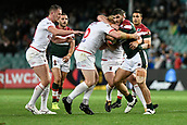 4th November 2017, Sydney Football Stadium, Sydney, Australia; Rugby League World Cup, England versus Lebanon; James Graham of England gets to gris with Alex Twal of Lebanon