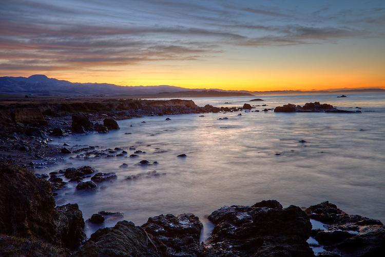 Dawn light on the coastline of SanSimeon on California's central coast