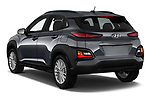 Car pictures of rear three quarter view of a 2018 Hyundai Kona SEL AUTO 5 Door SUV angular rear