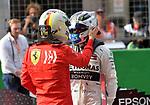 13.04.2019, Shanghai Audi International Circuit, Shanghai, 2019 FORMULA 1 HEINEKEN CHINESE GRAND PRIX<br /> im Bild<br />Sebastian Vettel (GER#5), Scuderia Ferrari gratuliert Valtteri Bottas (FIN#77), Mercedes-AMG Petronas Motorsport zur Poleposition<br /> <br /><br /> <br /> Foto &copy; nordphoto / Bratic