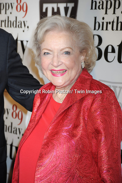 "Betty White attending Betty White's 89th Birthday party given by TV Land and the cast of ""Hot in Cleveland"" on January 18, 2011 at .Le Cirque in New York City."