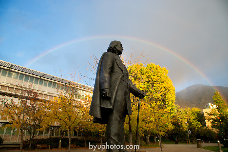 1310-51 095.CR2<br /> <br /> GCS Rainbow on campus. Y mountain, Brigham Young Statue<br /> <br /> ASB<br /> BY Statue<br /> Fall<br /> <br /> October 16, 2013<br /> <br /> Photography by Mark A. Philbrick/BYU Photo<br /> <br /> Copyright BYU Photo 2013<br /> All Rights Reserved<br /> photo@byu.edu  (801)422-7322